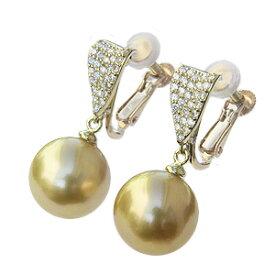 真珠 パール イヤリング ゴールド系 南洋白蝶真珠 ゴールデンパール 11mm K18 18金 ゴールド ダイヤモンド 0.40ct 送料無料