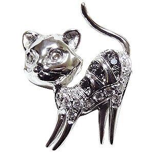 ブローチ 猫 ねこ メンズ 男性用 ネコ ピンズ CAT ラペルピン ダイヤモンド K18WGホワイトゴールド メンズジュエリー 送料無料 入学祝い 就職祝い アクセサリー ジュエリー 人気 おすすめ カジ