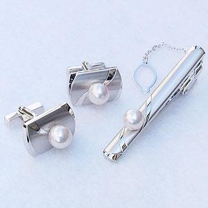 真珠 パール タイバー カフス セット あこや本真珠 7-7.5mm メンズ【RCP】