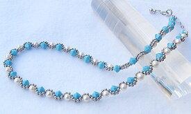 ターコイズ トルコ石 ネックレス 真珠 パール