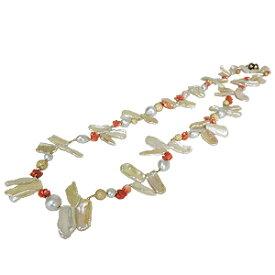 ロングネックレス パールネックレス パールロングネックレス パール 真珠 サンゴ 珊瑚 ネックレス 約80cm ホワイトゴールド シルバー 送料無料 一点物 限定1点 品質保証書付 ケース付き 送料無料