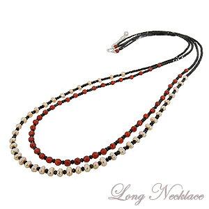 ロングネックレス ステーションネックレス 2連ネックレス 真珠 パール 淡水真珠 ブラックスピネル 赤メノウ 品質保証書付 ケース付 送料無料あす楽 カジュアル 敬老の日