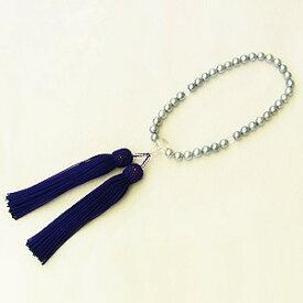 アコヤ本真珠 念珠パール数珠色 グレー系 6.5mm 房紫紺色 ラウンド 念珠ケース付 ブレスレット 送料無料
