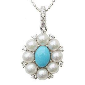 真珠 パール ターコイズ トルコ石 ペンダントトップ あこや本真珠 ホワイトピンク系 ダイヤモンド14石 0.12ct 花柄