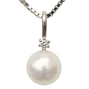 ペンダントトップ k18 ネックレスペンダント あこや真珠パール K18ホワイトゴールドネックレス ダイヤモンド