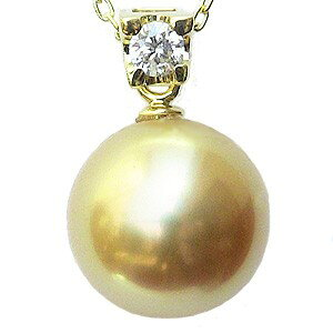南洋白蝶真珠 11mm ゴールド系 パール ペンダントトップ K18 18金 ダイヤモンド ダイヤ付 送料無料