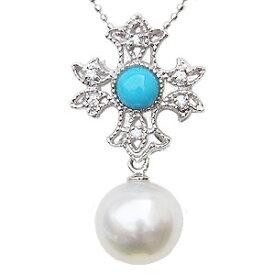 ネックレスペンダント 南洋真珠パール PT900プラチナターコイズ トルコ石 ダイヤモンド