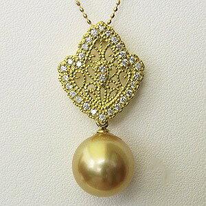南洋白蝶真珠 ペンダントトップヘッド ダイヤモンド パール ゴールド系 12mm K18 ゴールド