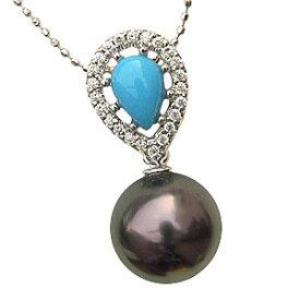 ネックレスペンダント 黒真珠パール ホワイトゴールド ターコイズ トルコ石 ダイヤモンド