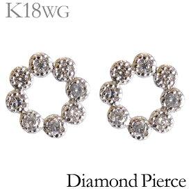 ダイヤモンド ピアス K18ホワイトゴールド 0.08ct スタッド プチ 可愛い フラワーリース型 レディース ダイヤ プレゼント 贈答 ジュエリー 保証書付 送料無料