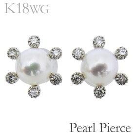ピアス 12石ダイヤ あこや本真珠 5.5-6mm ダイヤモンド K18ホワイトゴールド レディース
