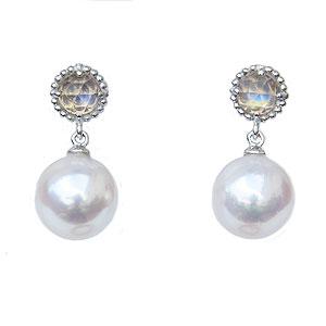 真珠 パール 6月誕生石 ピアス あこや本真珠 K18WG ホワイトゴールド 真珠の径8mm ピンクホワイト系 ブルームーンストーン ピアス
