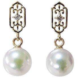 デザインのかわいいパールピアス あこや本真珠 K18 ダイヤモンド シリコンダブルロックキャッチ付 ゴールド 真珠 送料無料