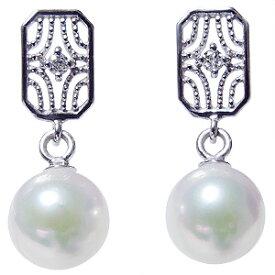 デザインのかわいいパールピアス あこや本真珠 K18WG ダイヤモンド シリコンダブルロックキャッチ付 ホワイトゴールド 真珠 送料無料