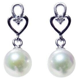 パールピアス あこや本真珠 K18WG ダイヤモンド シリコンダブルロックキャッチ付 ホワイトゴールド 真珠 送料無料