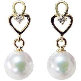 パールピアス あこや本真珠 K18 ダイヤモンド シリコンダブルロックキャッチ付 ゴールド 真珠 送料無料