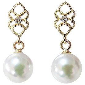可愛いデザインのパールピアス あこや本真珠 K18 ダイヤモンド シリコンダブルロックキャッチ付 ゴールド 真珠 送料無料