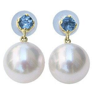 あこや本真珠 8.5mm スタッドピアス タンザナイト 12月誕生石 ピアス K18 ゴールド アコヤ真珠 パール 誕生日 記念日 プレゼント 結婚式