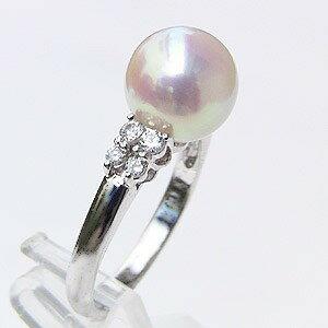 あこや本真珠 リング ダイヤモンド 0.17ct パール ピンクホワイト系 9mm PT プラチナ 900 指輪アコヤ本真珠 レディース 冠婚葬祭