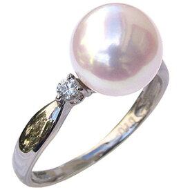 パールリング レディース 真珠の指輪 オーロラ あこや本真珠 花珠 ダイヤモンド PT900プラチナ ピンクホワイト系 0.10ct 9mm 大珠 冠婚葬祭 結婚式 真珠科学研究所 プレゼント 品質保証書付 あす楽
