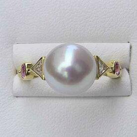 南洋白蝶真珠 リング ダイヤモンド ピンクサファイヤ 18金 K18 パール ピンクホワイト系 ラウンド形 指輪 普段使い