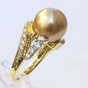 南洋白蝶真珠 リング ダイヤモンド パール ゴールド系 11.3mm 18金 K18 指輪 普段使い