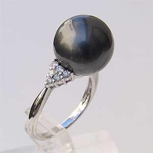タヒチ黒蝶真珠 リング ダイヤモンド パール グリーン系 12mm PT900 指輪 ラウンド形