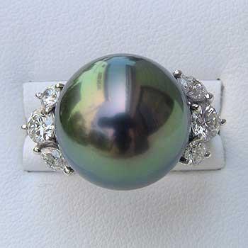 タヒチ黒蝶真珠 リング パール 15mm ピーコックグリーン ダイヤモンド 1.02ct PT プラチナ 指輪【RCP】