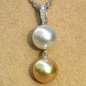 真珠 ペンダントトップ ダイヤ K18WG 南洋白蝶真珠 ゴールド 10mm