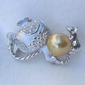 真珠パール 帯留め 南洋白蝶真珠 ダイヤモンド ホワイトゴールド 打ち出の小槌 6月誕生石 送料無料