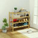 【100%天然竹製】送料無料 靴棚 収納 ラック 4段 花台 飾り棚 棚 書棚 シューズラック オープンラック 衣服 玄関小物 省スペース 下駄…