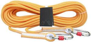 10.5mm ロープ クライミングロープ10M/30M/50M/80M/100M ザイル ガイロープ 耐荷重2500kg登山 アウトドア キャンプ 防災 安全 カラビナ付き 4色