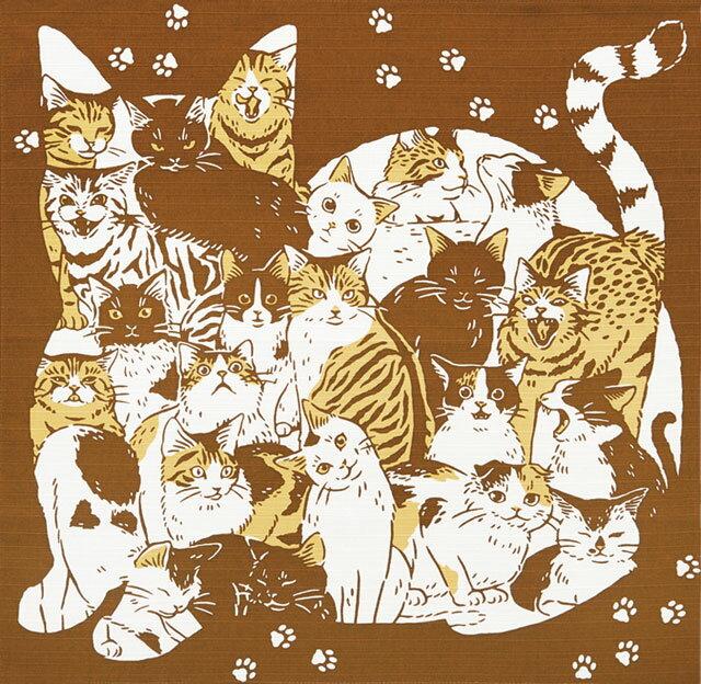 手捻染小風呂敷 『猫づくし』 kenema 【ゆうパケット送料無料!※宅配便を選択時は送料がかかります。(ご注文後にこちらで追加します。)】