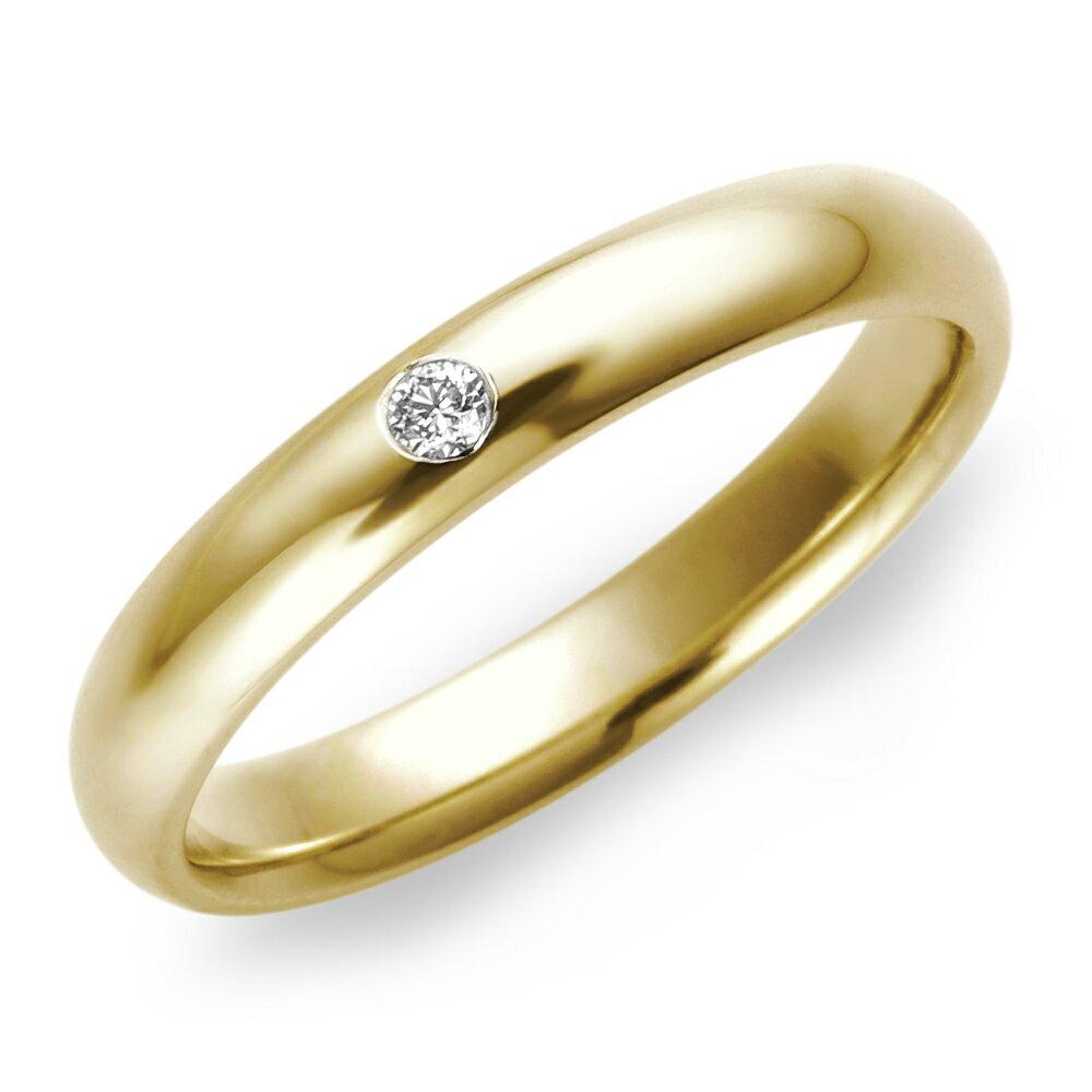 結婚指輪 K18 YG(イエローゴールド) スタンダード・ダイヤモンド マリッジリング 3mm鍛造 リング 指輪 ring