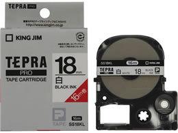 【在庫あり】キングジム テプラテープ ロングタイプ 白地黒文字 18ミリ幅 SS18KL 20219