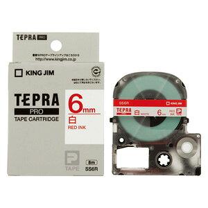 テプラ PRO用テープカートリッジ 白ラベル SS6R [赤文字 6mm×8m]