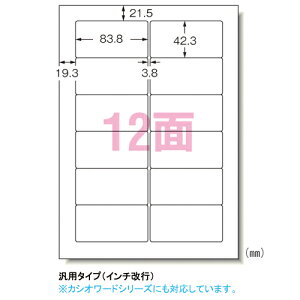エーワン 28184 パソコンプリンタ&ワープロラベルシール(プリンタ兼用) マット紙(A4判)12面 100枚入