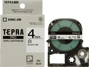 テプラ PRO用テープカートリッジ 白ラベル SS4K [黒文字 4mm×8m]