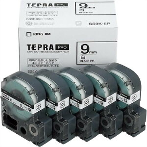 テプラ PRO用テープカートリッジ 白ラベル エコパック 5個入り SS9K-5P [黒文字 9mm×8m]