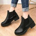 サイドゴアブーツ レディース ローヒール 厚底 ショートブーツ 歩きやすい 履きやすい 黒 太ヒール(bo-552)