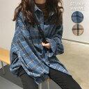 【楽天スーパーSALE超目玉!】 チェックシャツ レディース 韓国 ロング 大きいサイズ おしゃれ 長袖 チェック柄^v126^
