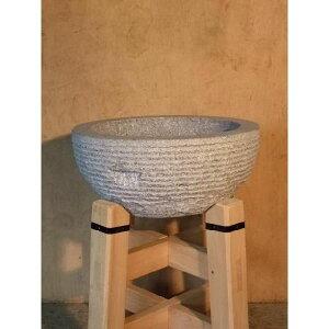 国産石臼 御影石餅臼セット 檜材うす台付 2升