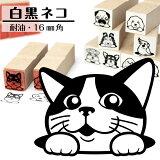 白黒ネコイラストが選べるゴム印かわいい猫のイラスト入りはんこ16mm角プレゼントギフトグッズ