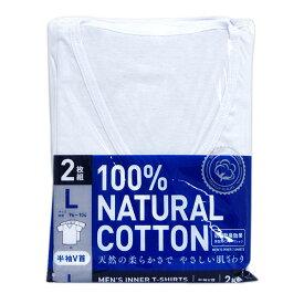 【メール便/送料無料】抗菌防臭Tシャツ2枚組(白/半袖V首)/Lサイズ/アイ・フィット工業