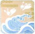 日本製和風布物優しいガーゼはんかち和心兎おとぎ波