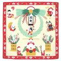 日本製和風布物綿チーフ小風呂敷縁起物和柄ハンカチお正月はんかち七福人