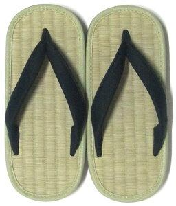 日本製 履物 い草草履い草 ぞうり・サンダル小判型 幅広 男性用 (L) 黒色鼻緒