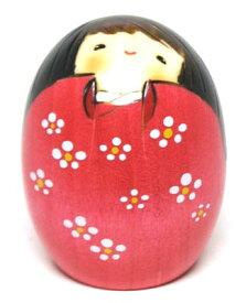 日本のお土産にも人気日本製 民芸品 工芸品卯三郎作 こけし しあわせ(小) ピンク