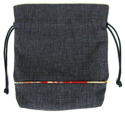 【日本製】 和風布物 竹炭布日本柄 竹炭布巾着袋