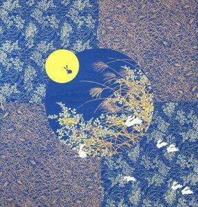日本製 綿布物 名物裂大風呂敷 クロス タペストリー縁起物 兎(うさぎ・ウサギ)すすき・ススキ柄 青色